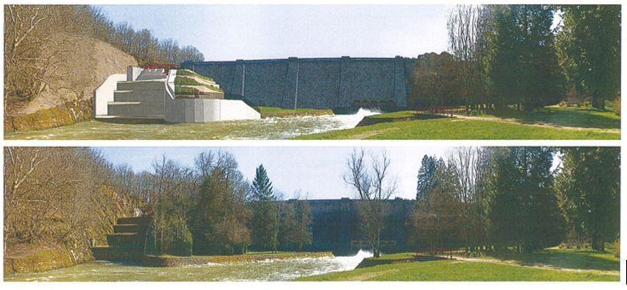 projet d'évolution de l'évacuateur de crue du barrage, vu de l'aval, ©VNF.